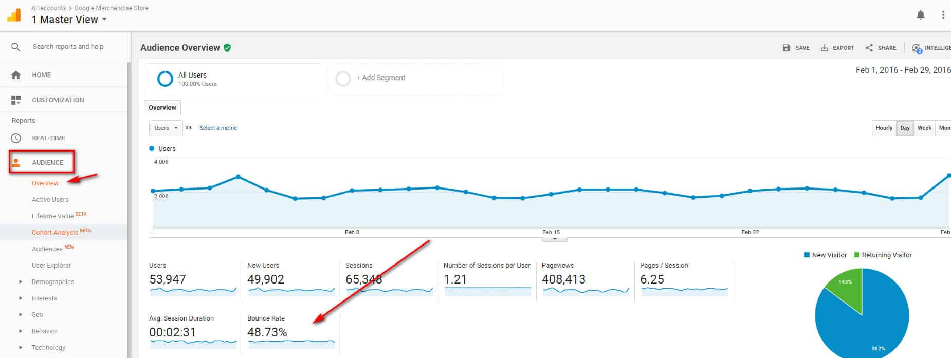 Check Bounce Rate Via Google Analytics